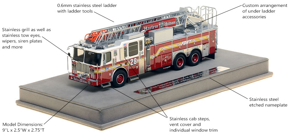 Features and Specs of FDNY Ladder 28 scale model