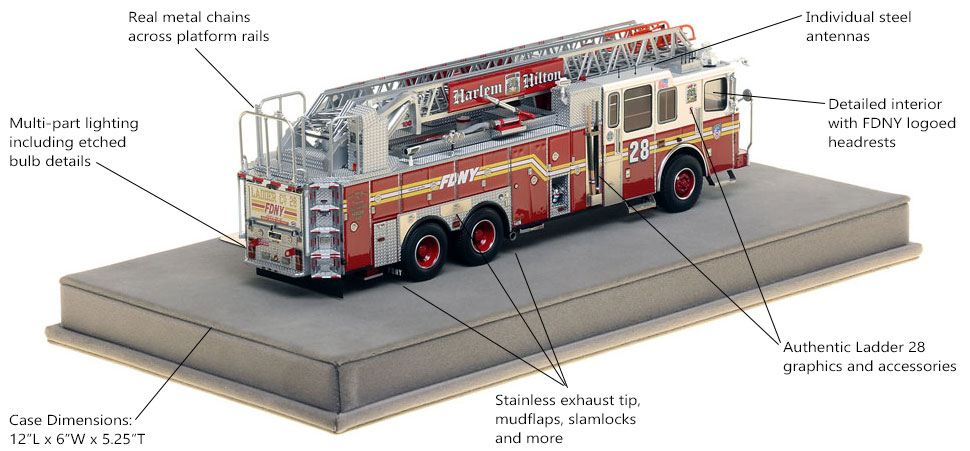 Specs and Features of FDNY Ladder 28 scale model