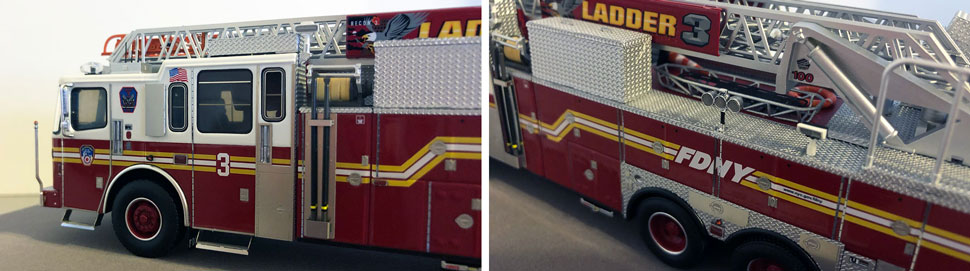 Closeup pictures 3-4 of the FDNY Ladder 3 scale model