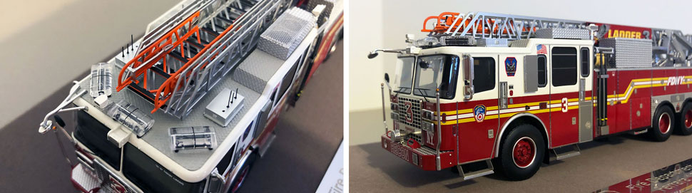 Closeup pictures 1-2 of the FDNY Ladder 3 scale model