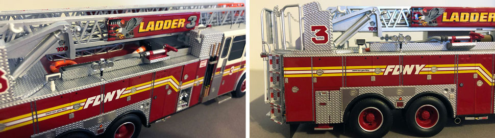 Closeup pictures 7-8 of the FDNY Ladder 3 scale model