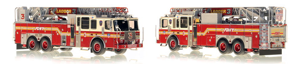 FDNY's Ladder 3 scale model is hand-crafted and intricately detailed.