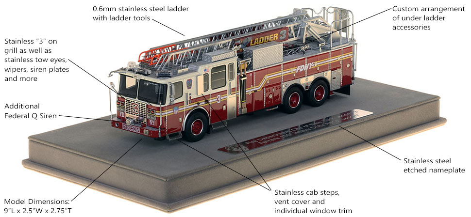 Features and Specs of FDNY Ladder 3 scale model