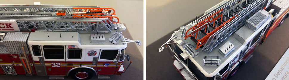 Closeup pictures 1-2 of the FDNY Ladder 32 scale model