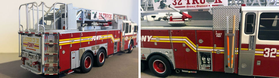 Closeup pictures 3-4 of the FDNY Ladder 32 scale model