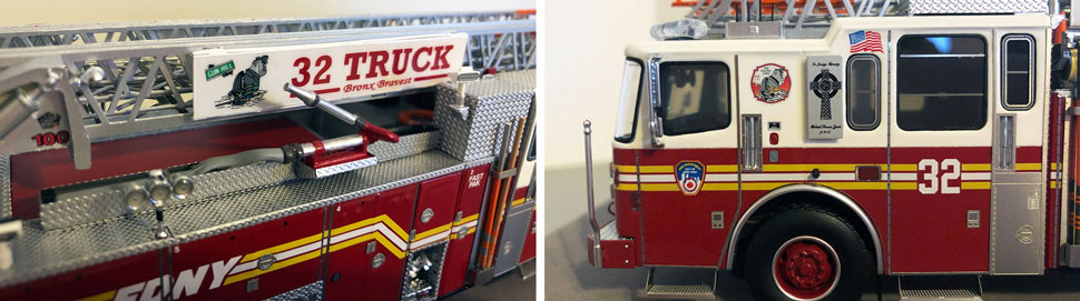 Closeup pictures 7-8 of the FDNY Ladder 32 scale model