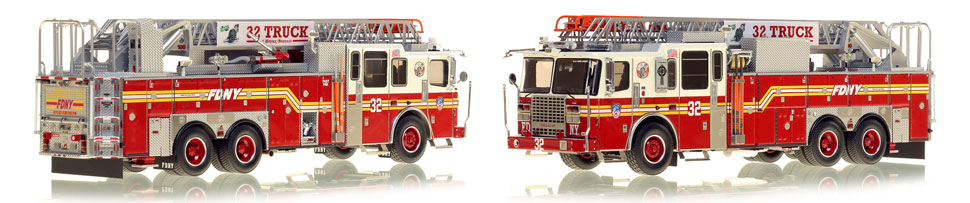 FDNY's Ladder 32 scale model is hand-crafted and intricately detailed.