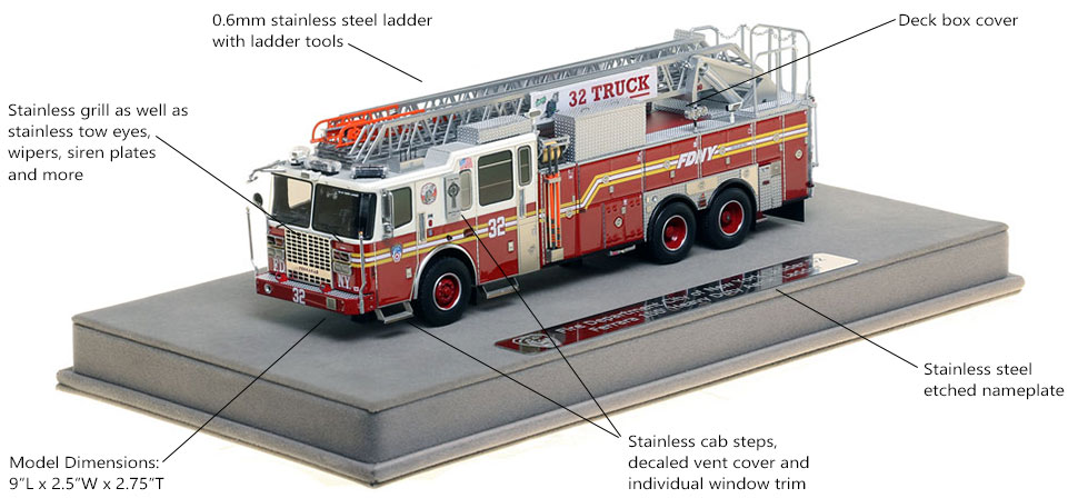 Features and Specs of FDNY Ladder 32 scale model