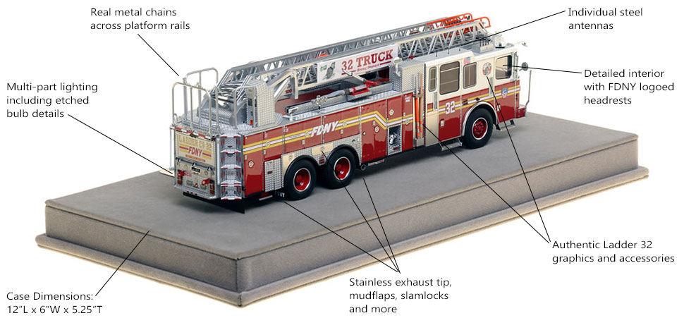 Specs and Features of FDNY Ladder 32 scale model