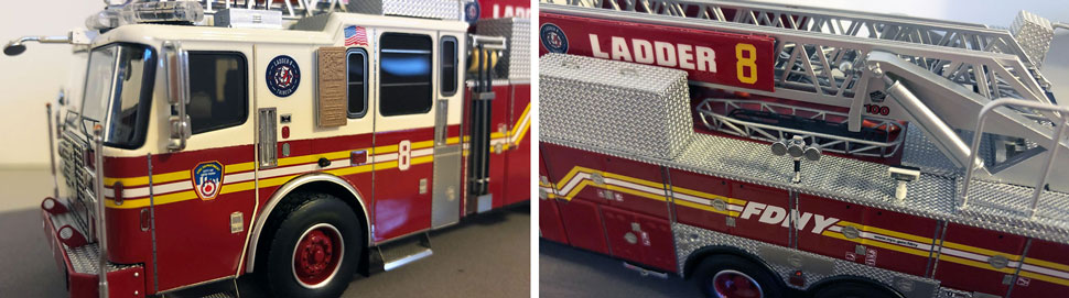 Closeup pictures 1-2 of the FDNY Ladder 8 scale model