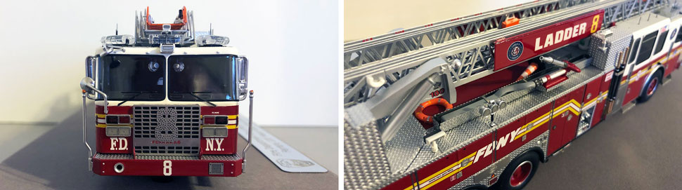 Closeup pictures 3-4 of the FDNY Ladder 8 scale model