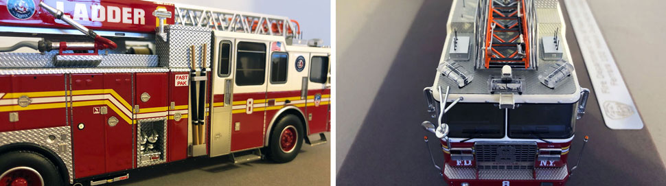 Closeup pictures 7-8 of the FDNY Ladder 8 scale model