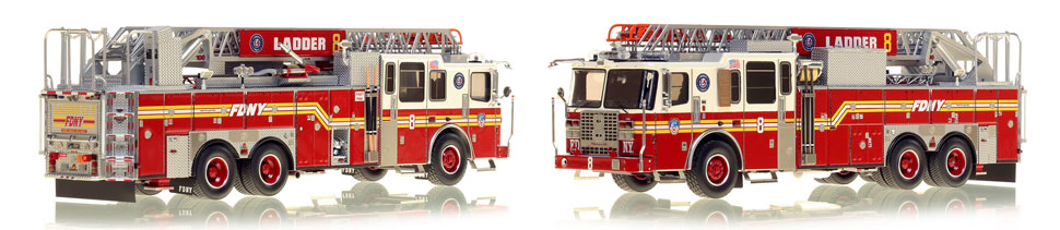 FDNY's Ladder 8 scale model is hand-crafted and intricately detailed.