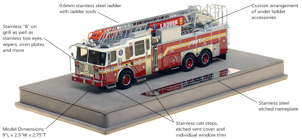 Features and Specs of FDNY Ladder 8 scale model