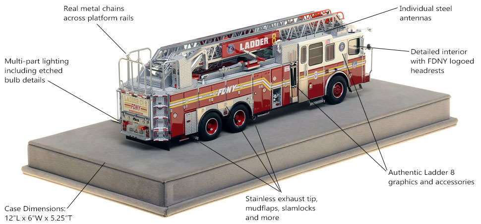 Specs and Features of FDNY Ladder 8 scale model
