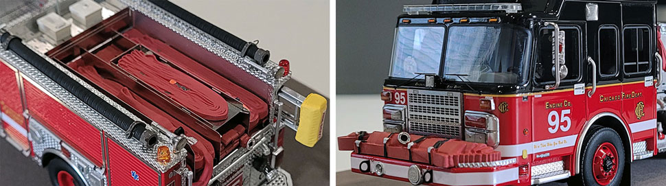 Closeup pics 9-10 of Chicago Fire Department Spartan Engine 95 scale model