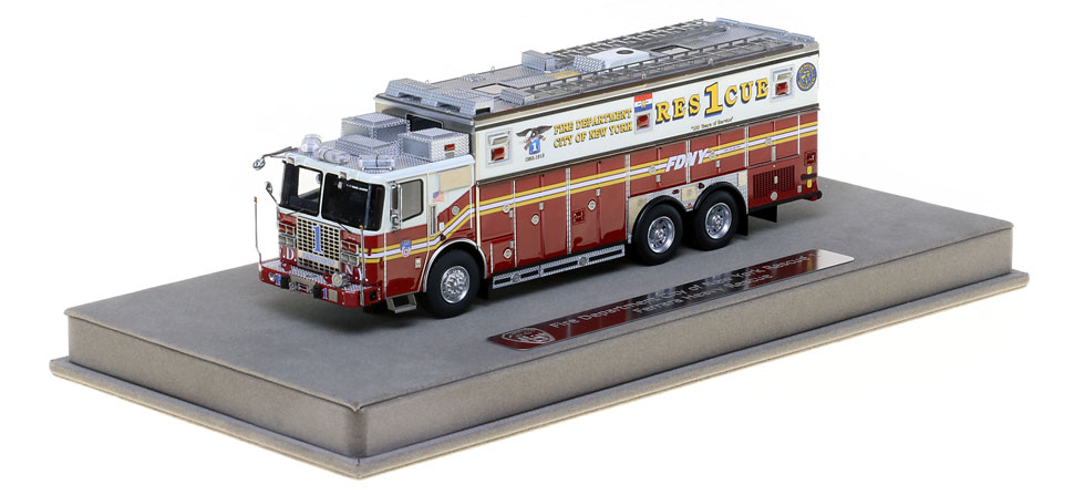FDNY Rescue 1 includes a fully custom display case.