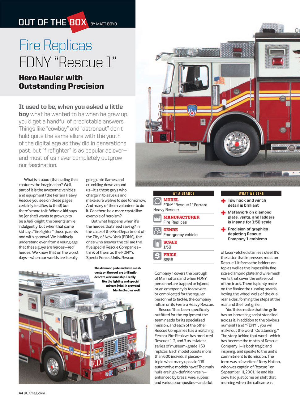 FDNY Rescue 1 article in Diecast X magazine