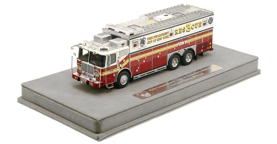 FDNY Rescue 3 includes a fully custom display case.
