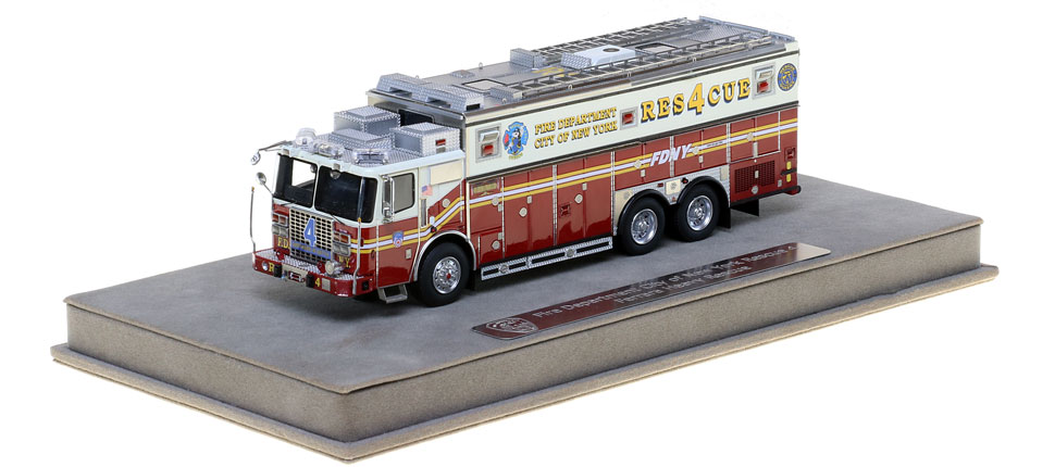 FDNY Rescue 4 includes a fully custom display case.