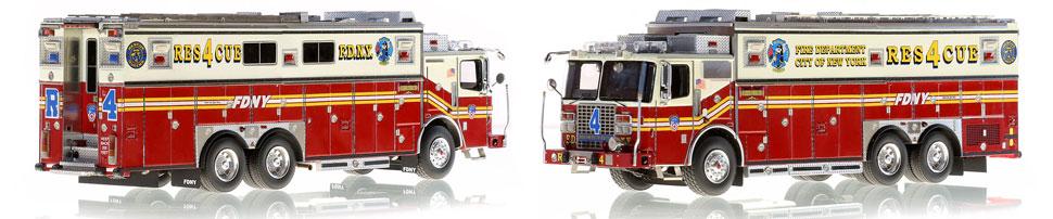 FDNY Rescue 4 in Queens is a museum grade, 1:50 scale replica