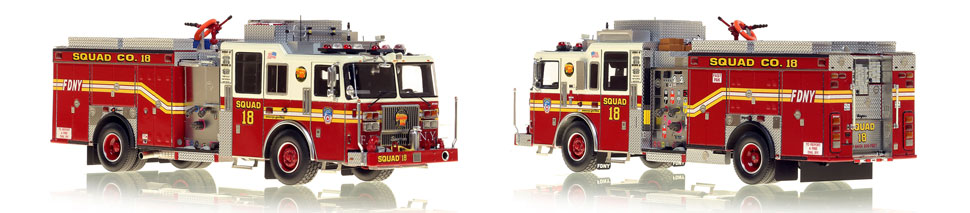 1:50 museum grade scale model of FDNY Seagrave Squad 18 from Manhattan