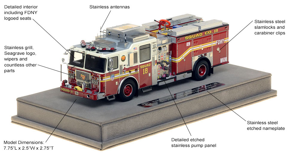 Features and specs of FDNY Squad 18 scale model