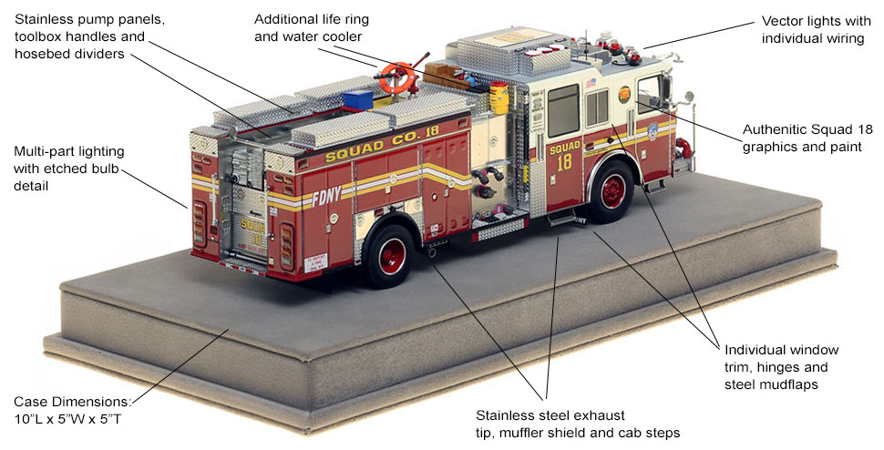 Specs and Features of FDNY Squad 18 scale model
