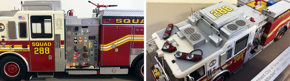 Close up pics 3-4 of FDNY Seagrave Squad 288 scale model