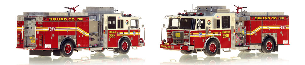 1:50 museum grade scale model of FDNY Seagrave Squad 288 from Queens