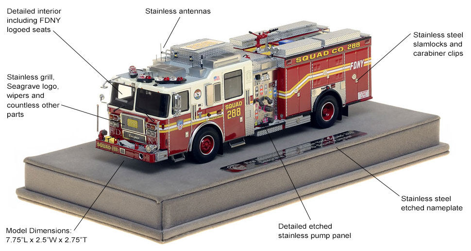 Features and specs of FDNY Squad 288 scale model
