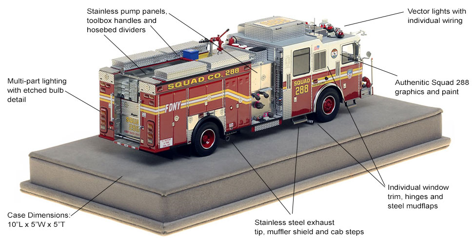 Specs and Features of FDNY Squad 288 scale model