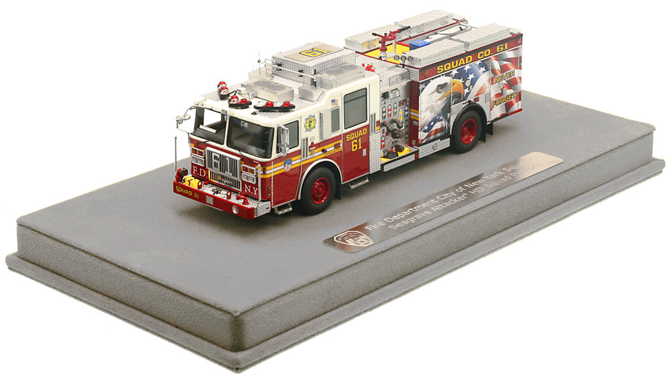 FDNY Squad 61 includes a fully custom display case.