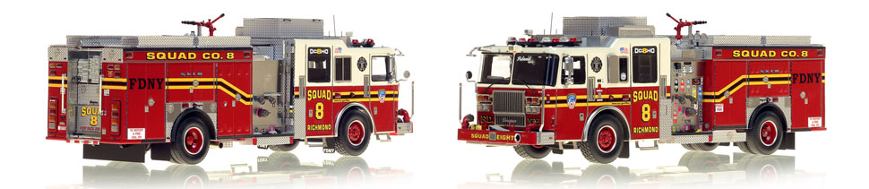 1:50 museum grade scale model of FDNY Seagrave Squad 8 from Staten Island