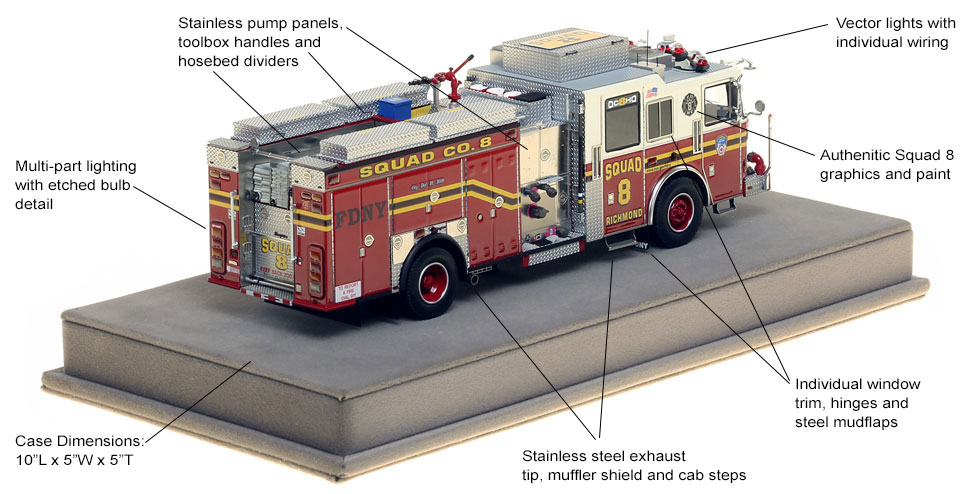 Specs and Features of FDNY Squad 8 scale model