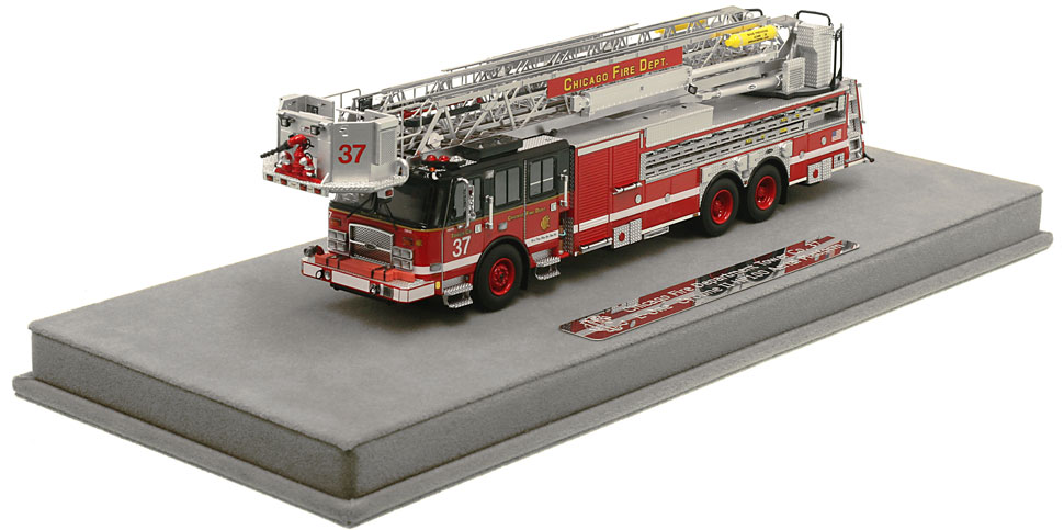 Chicago Tower Ladder 37 includes a fully custom display case!