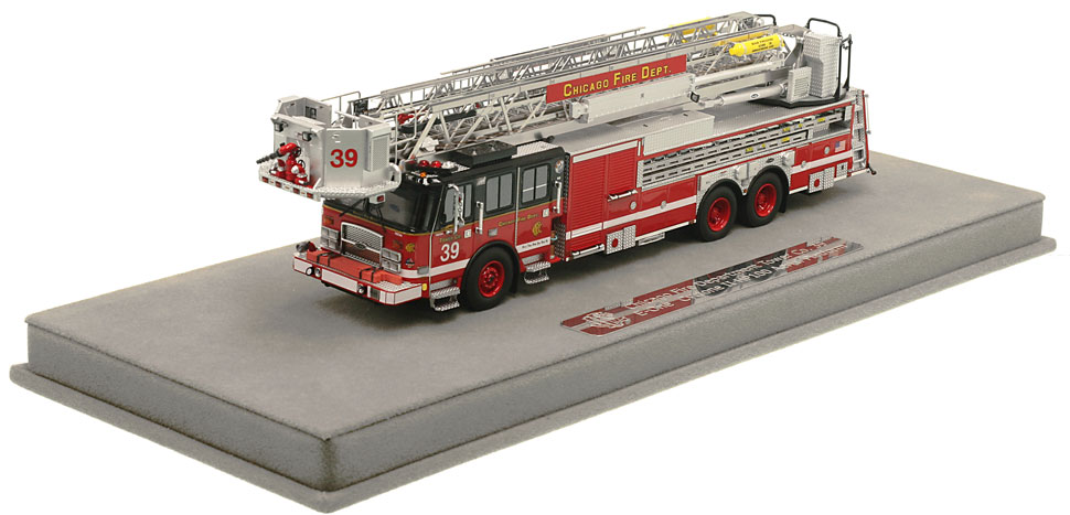Chicago Tower Ladder 39 includes a fully custom display case!