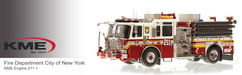 Shop KME scale model fire trucks including FDNY E211!