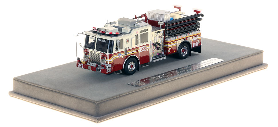 FDNY Engine 233 includes a fully custom display case.