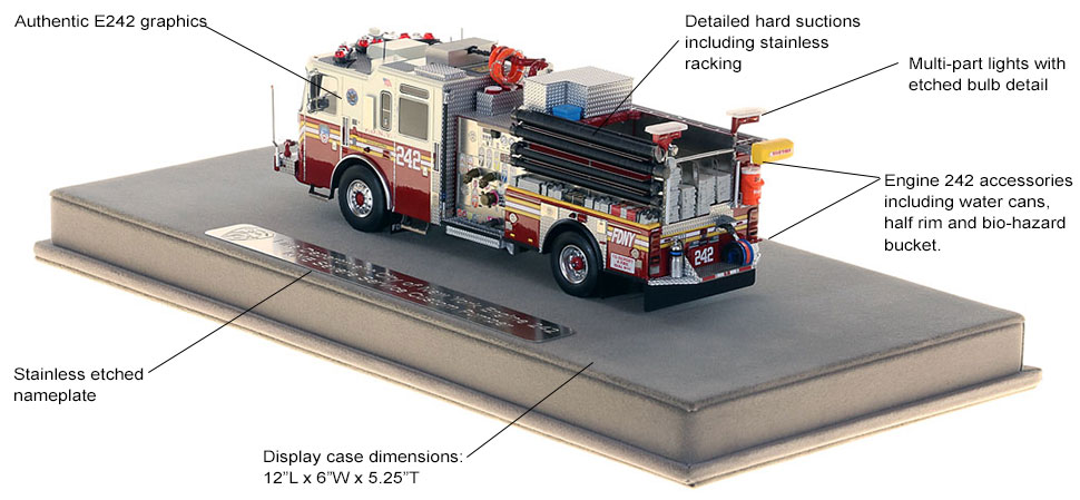Features and specs of FDNY's Engine 242 scale model