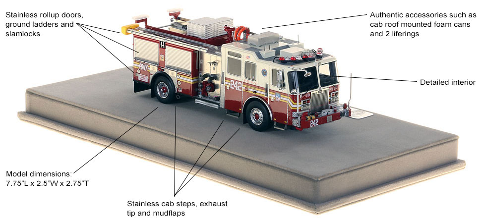 Specs and features of Brooklyn's Engine 242 scale model