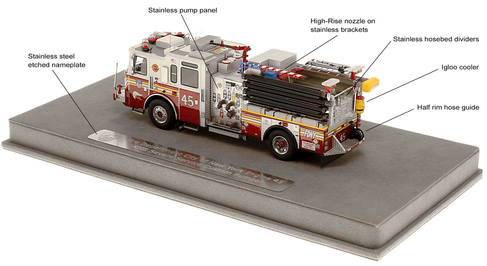 FDNY KME E45 features many custom details
