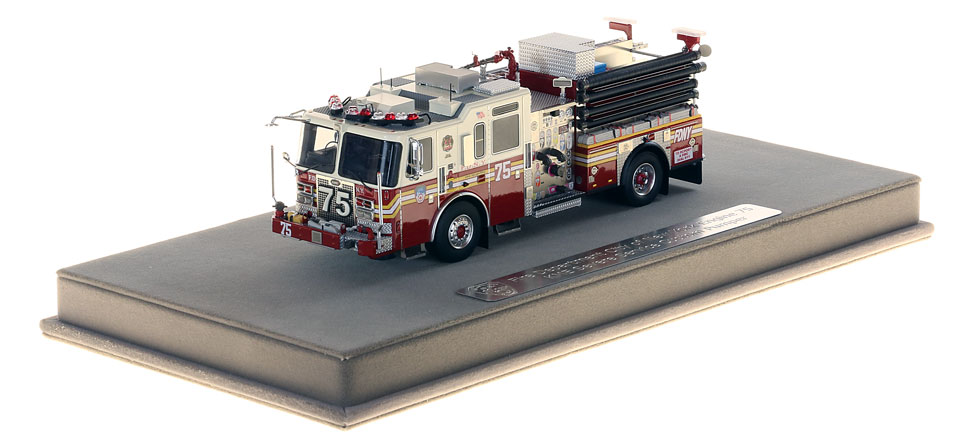 FDNY Engine 75 includes a fully custom display case.