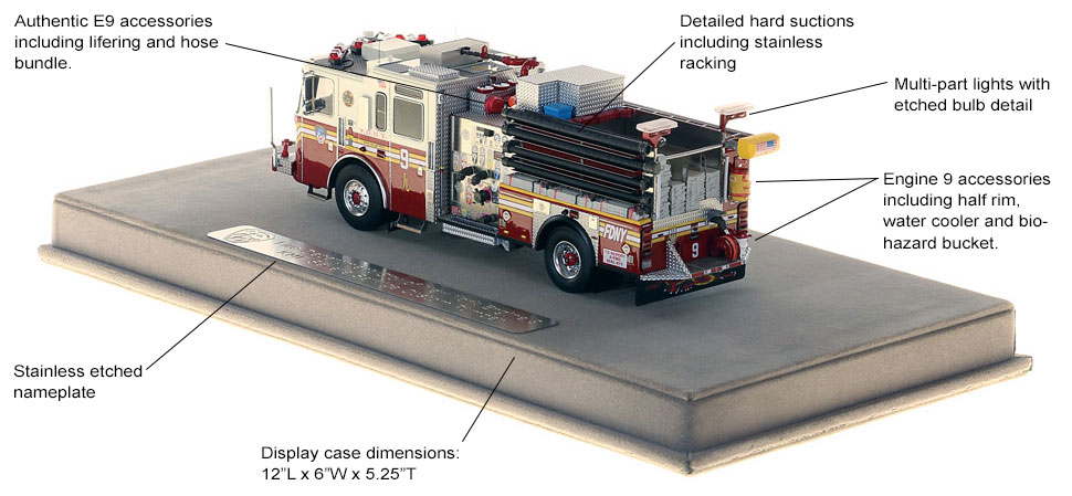 Specs and features of FDNY Engine 9 scale model