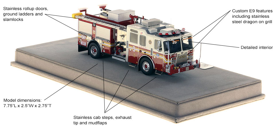 Features and specs of FDNY Engine 9 scale model