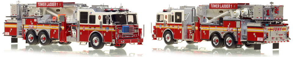 FDNY's Ladder 1 scale model is hand-crafted and intricately detailed.