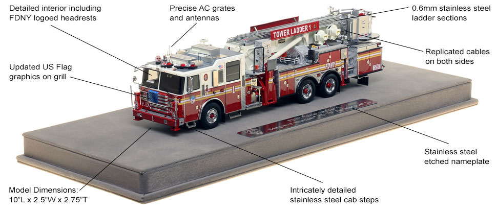 Features and Specs of FDNY Ladder 1 scale model