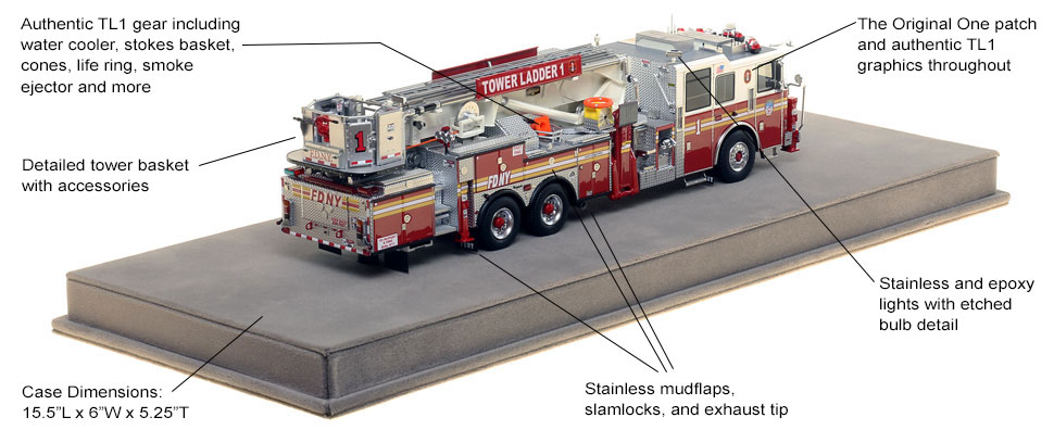 Specs and Features of FDNY Ladder 1 scale model