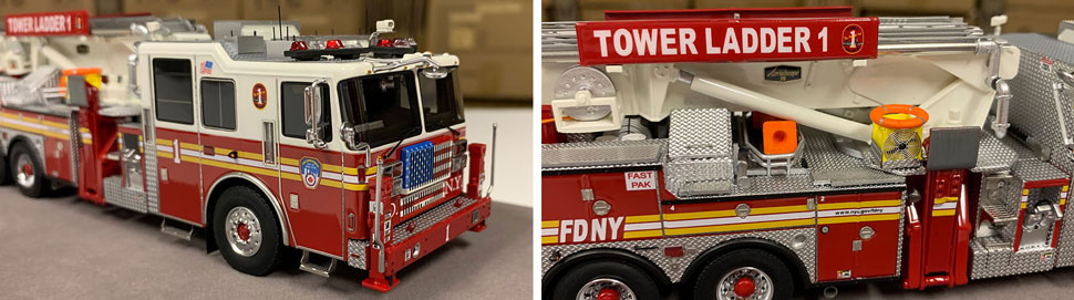 Closeup pictures 3-4 of the FDNY Ladder 1 scale model