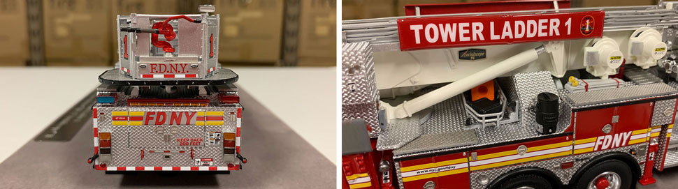 Closeup pictures 9-10 of the FDNY Ladder 1 scale model